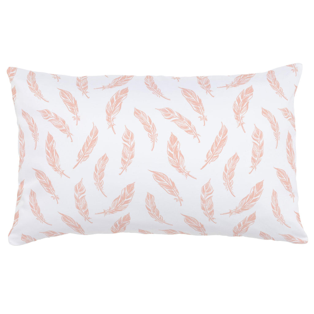 Product image for Peach Hand Drawn Feathers Lumbar Pillow