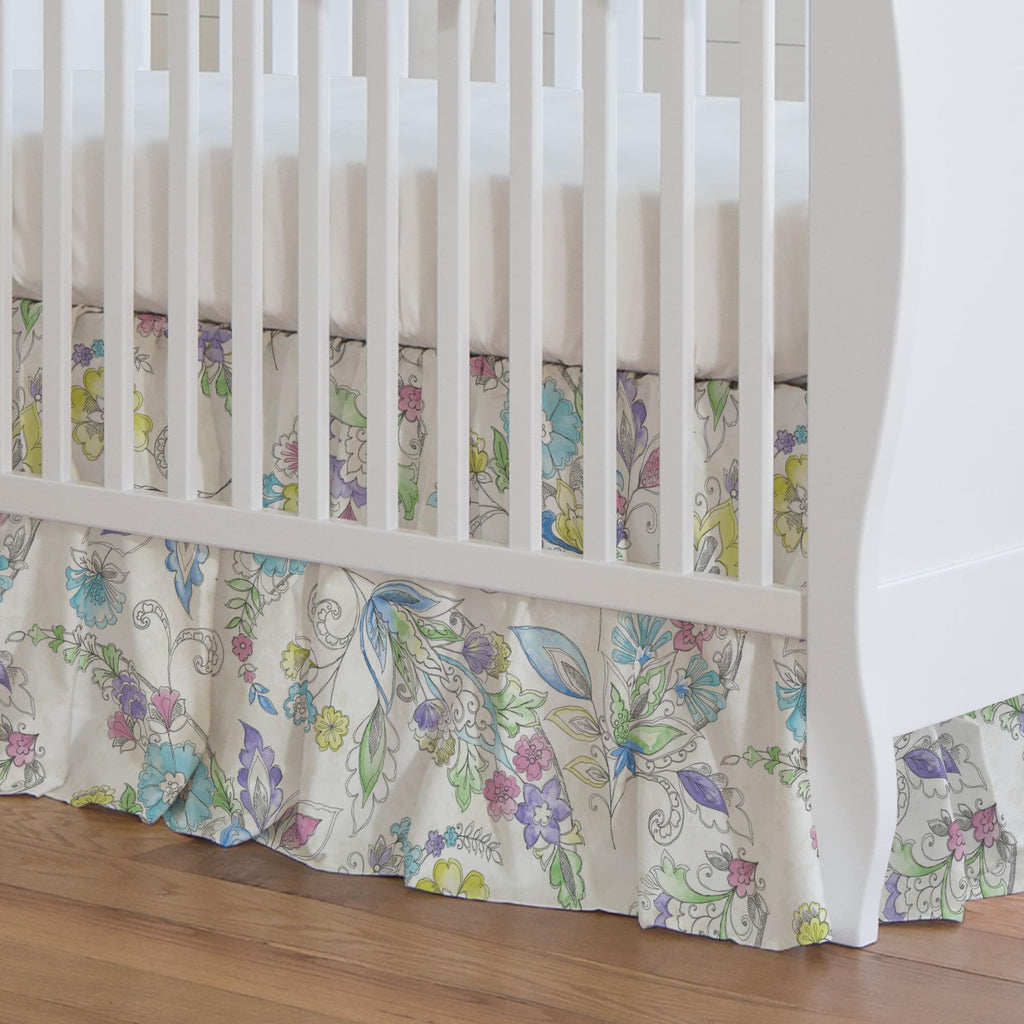 Product image for Sketchbook Floral Crib Skirt Gathered