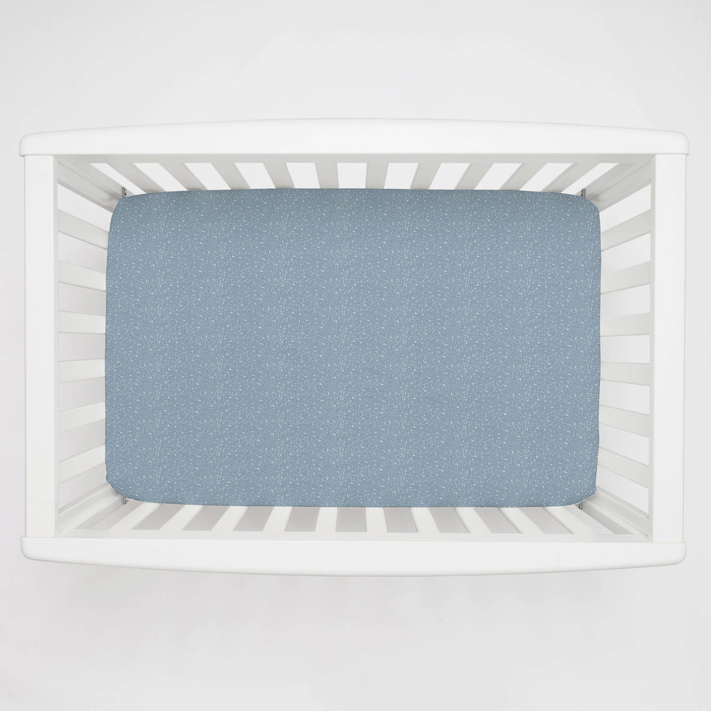 Product image for Steel Blue Heather Mini Crib Sheet