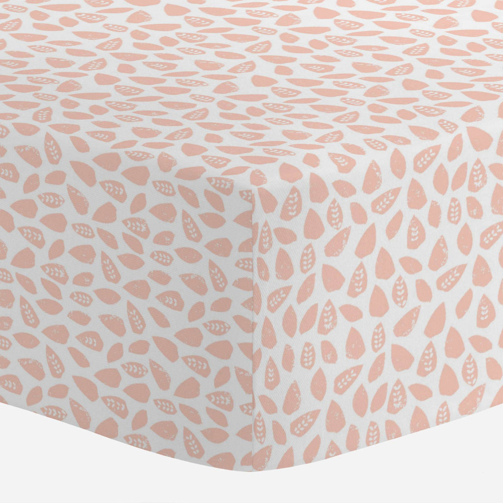Product image for Peach Woodland Leaf Crib Sheet