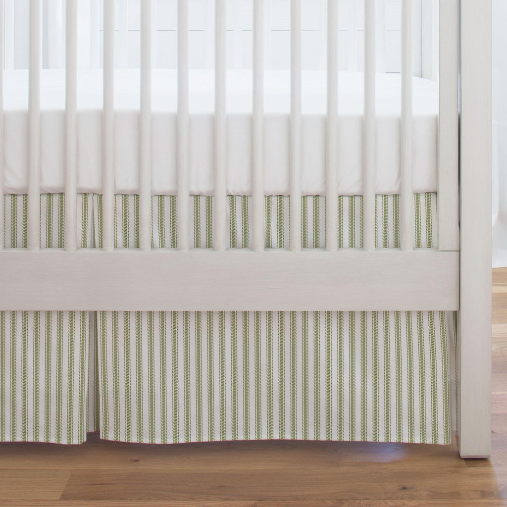 Product image for Sage Ticking Stripe Crib Skirt Single-Pleat