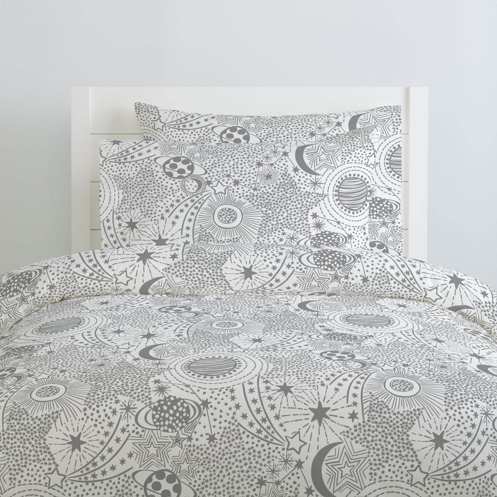 Product image for Cloud Gray Galaxy Duvet Cover
