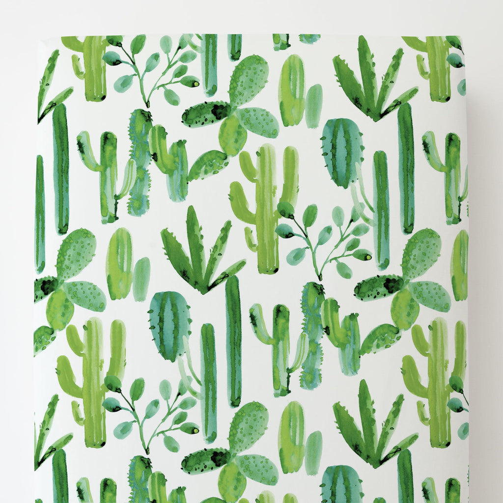 Product image for Green Painted Cactus Toddler Sheet Bottom Fitted