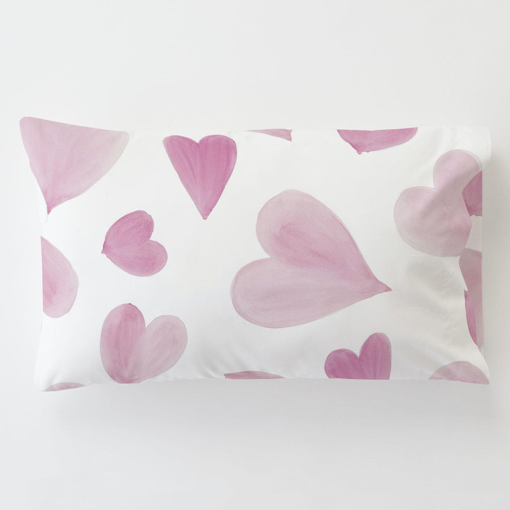Product image for Pink Watercolor Hearts Toddler Pillow Case with Pillow Insert