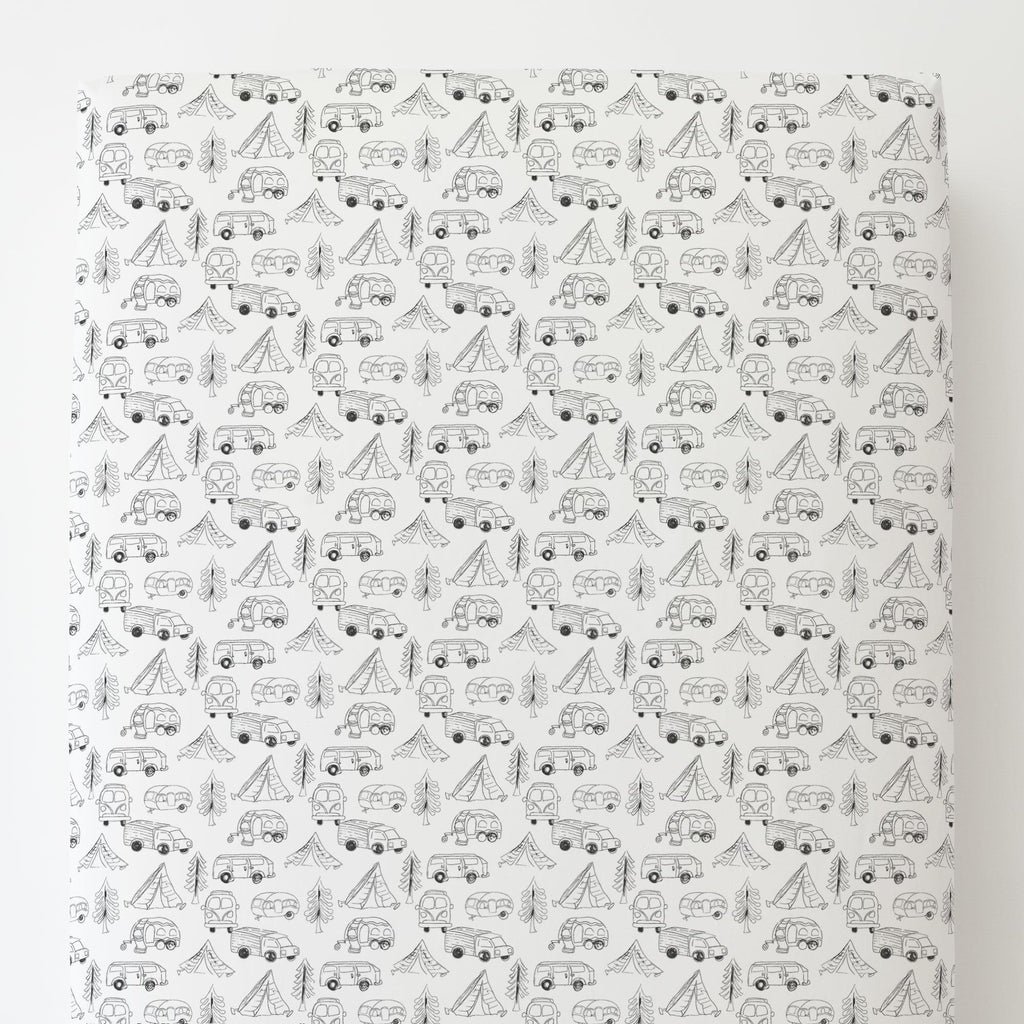 Product image for Slate Little Campers Toddler Sheet Bottom Fitted