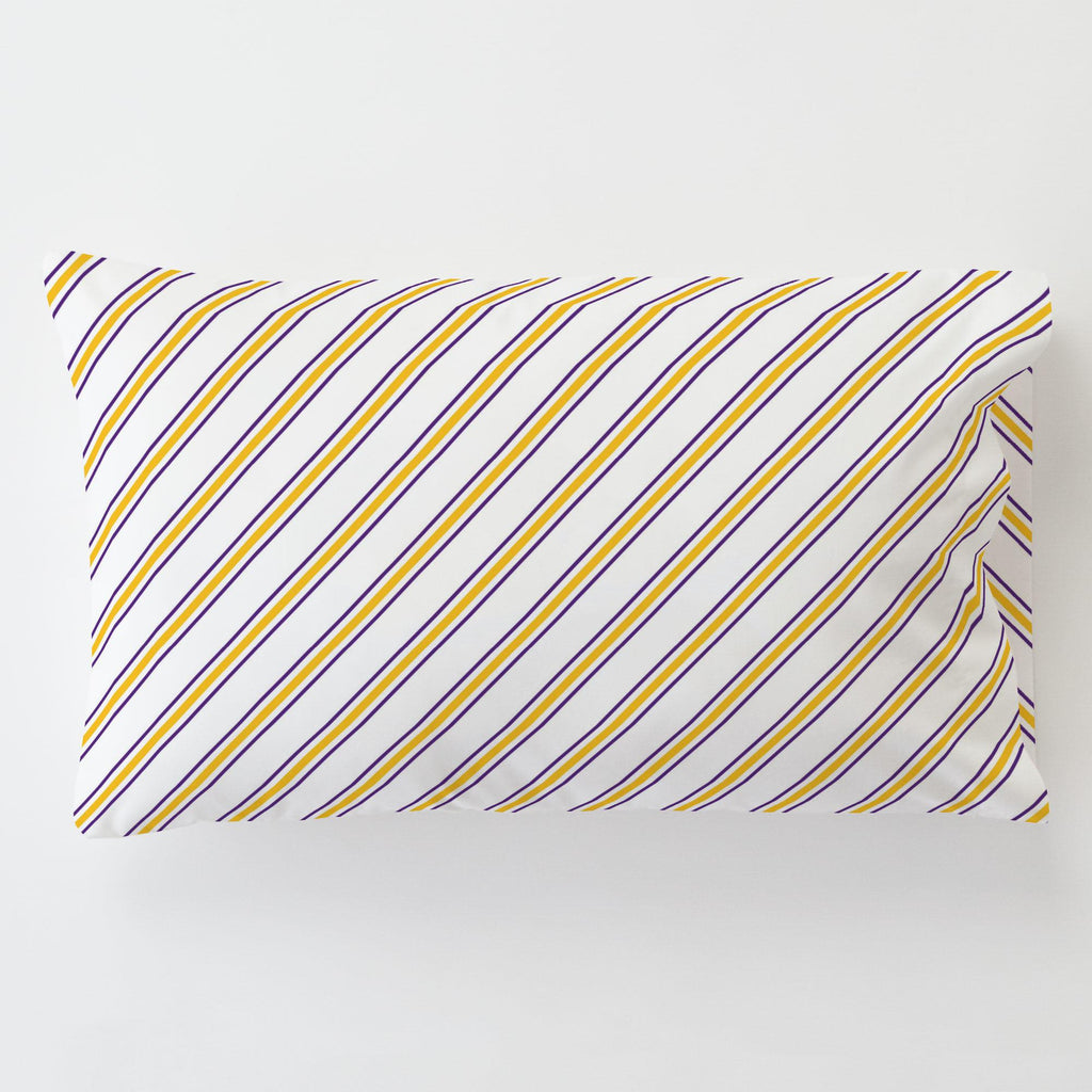 Product image for Purple and Yellow Necktie Stripe Toddler Pillow Case with Pillow Insert