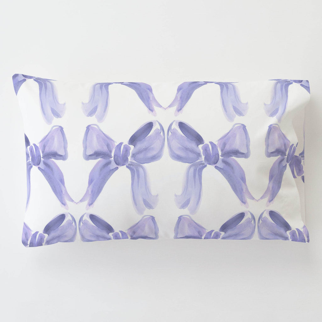 Product image for Lilac Watercolor Bows Toddler Pillow Case with Pillow Insert