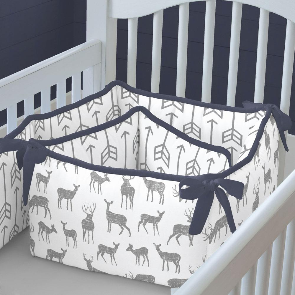 Product image for Cloud Gray Deer Crib Bumper