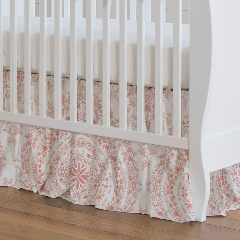 Product image for Light Coral Floral Damask Crib Skirt Gathered