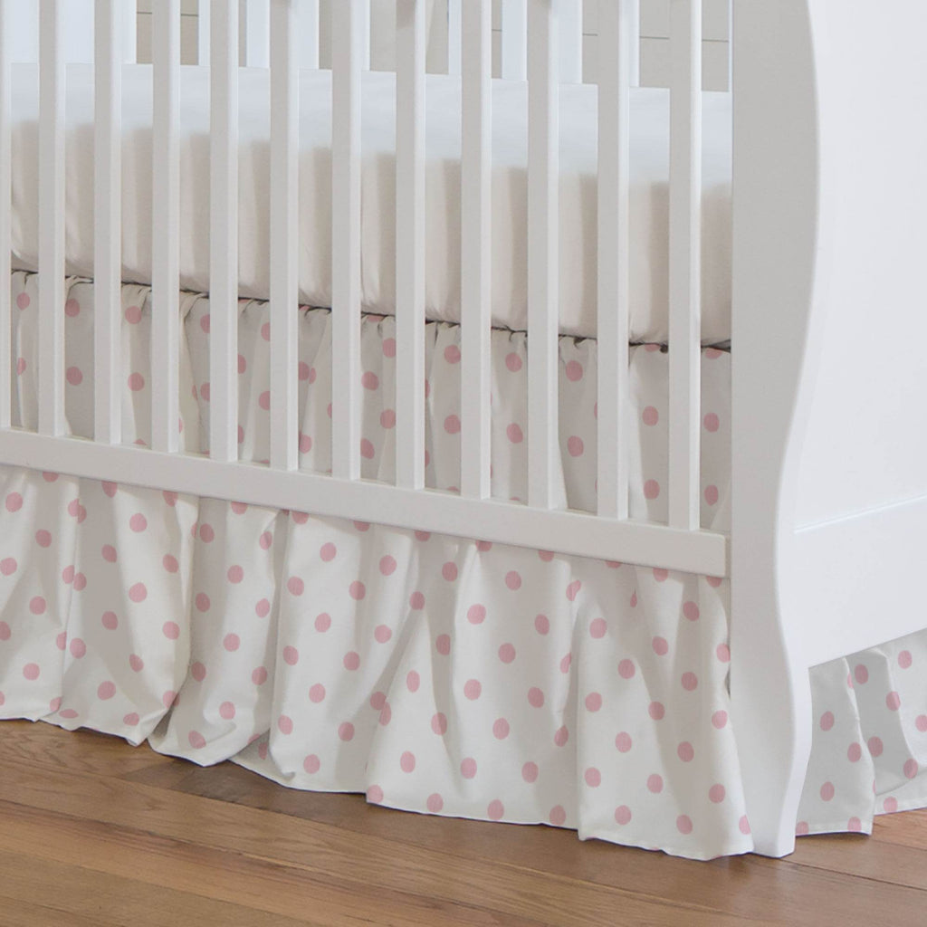 Product image for White and Pink Polka Dot Crib Skirt Gathered