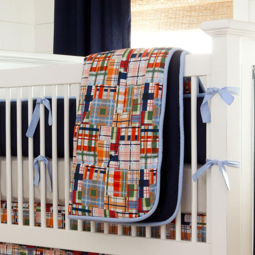 Product image for Patchwork Plaid Crib Comforter with Piping