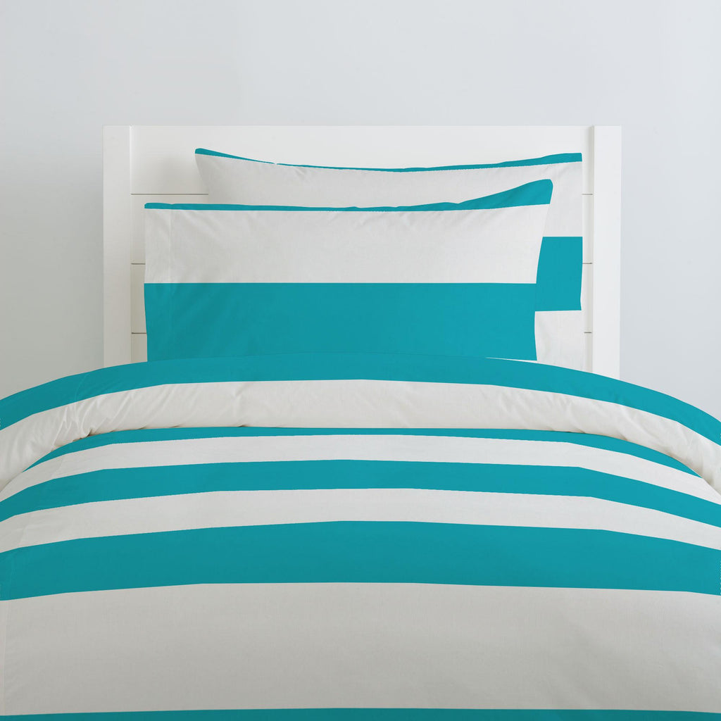 Product image for Teal Horizontal Stripe Duvet Cover
