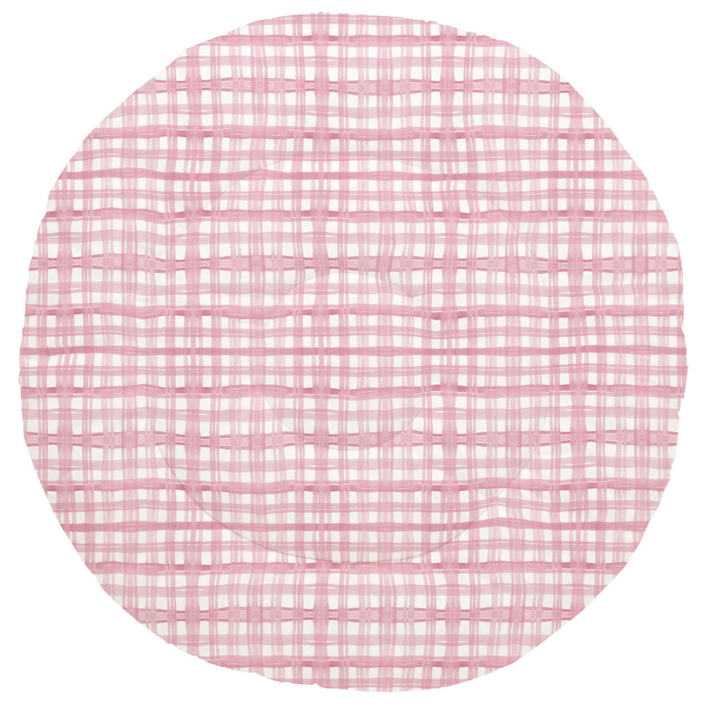 Product image for Pink Watercolor Plaid Baby Play Mat