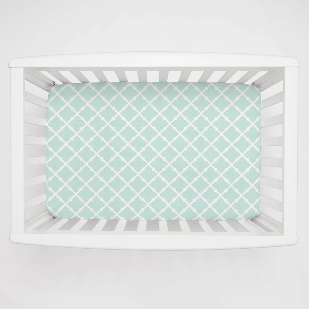 Product image for Icy Mint Lattice Mini Crib Sheet