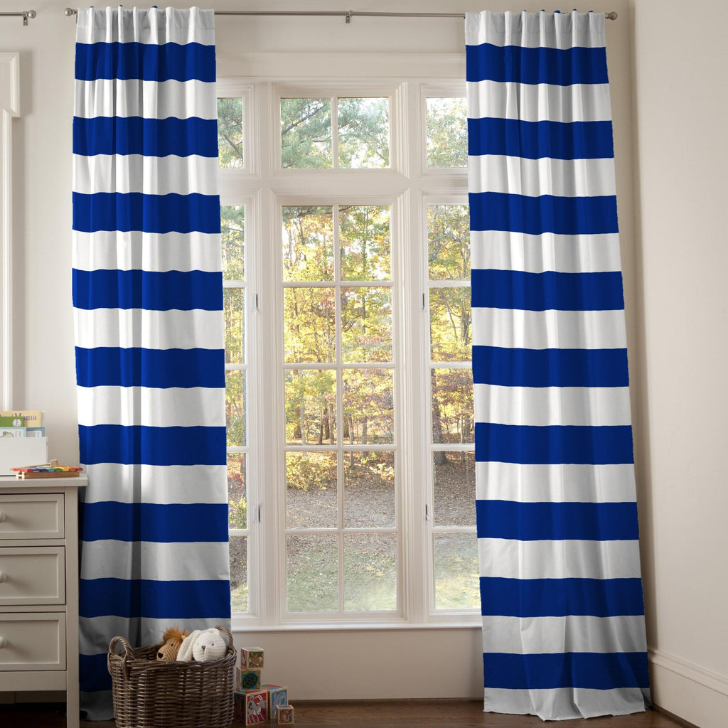 Product image for Ocean Blue Horizontal Stripe Drape Panel