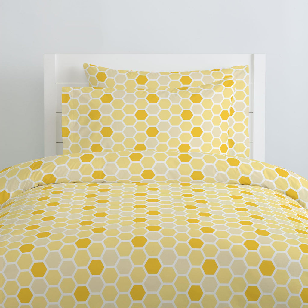 Product image for Yellow Honeycomb Duvet Cover