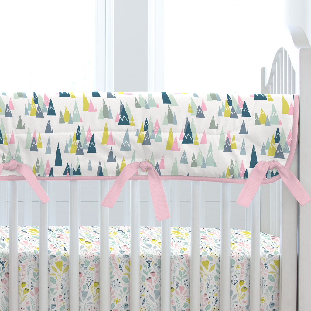 Product image for Pink Mountains Crib Rail Cover