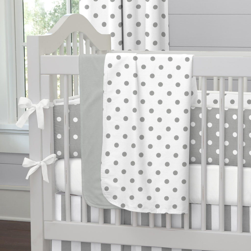 Product image for White and Gray Polka Dot Baby Blanket