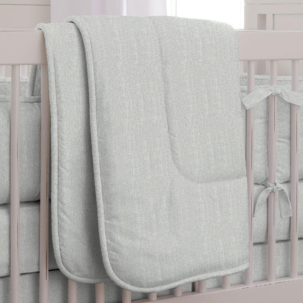 Product image for Silver Gray Linen Crib Comforter with Piping