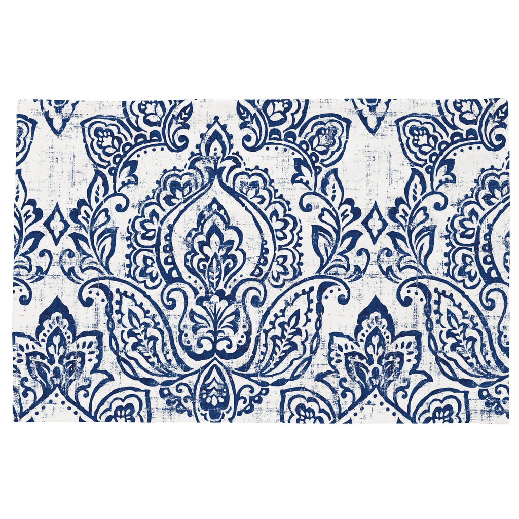 Product image for White and Navy Vintage Damask Toddler Pillow Case