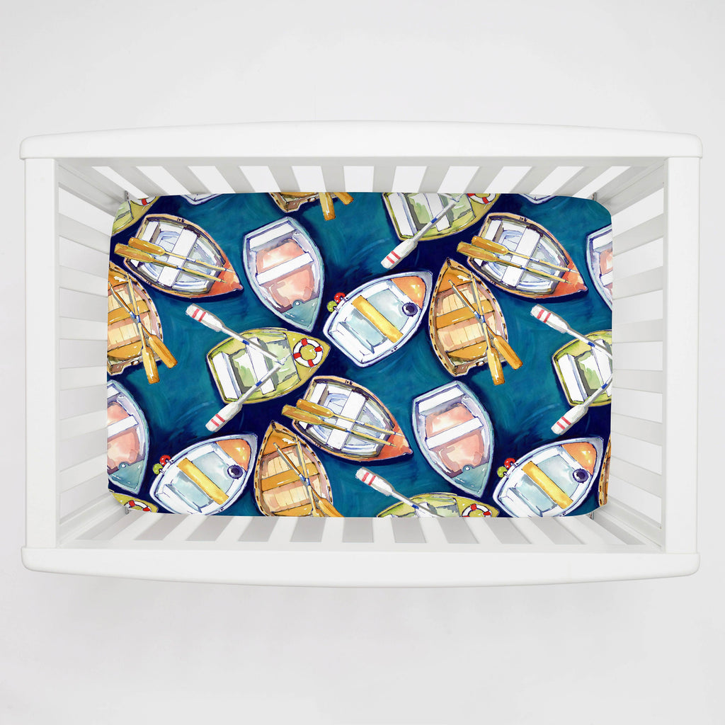 Product image for Blue Watercolor Boats Mini Crib Sheet