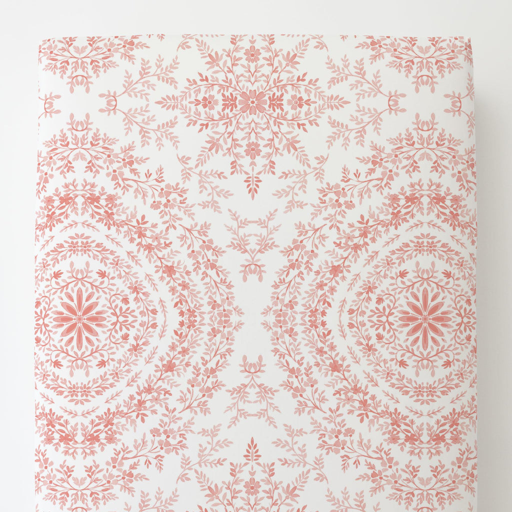 Product image for Light Coral Floral Damask Toddler Sheet Bottom Fitted