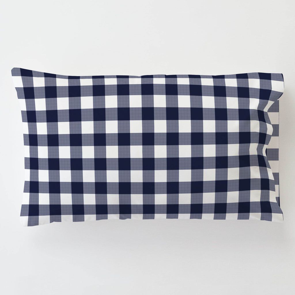 Product image for Windsor Navy Gingham Toddler Pillow Case with Pillow Insert