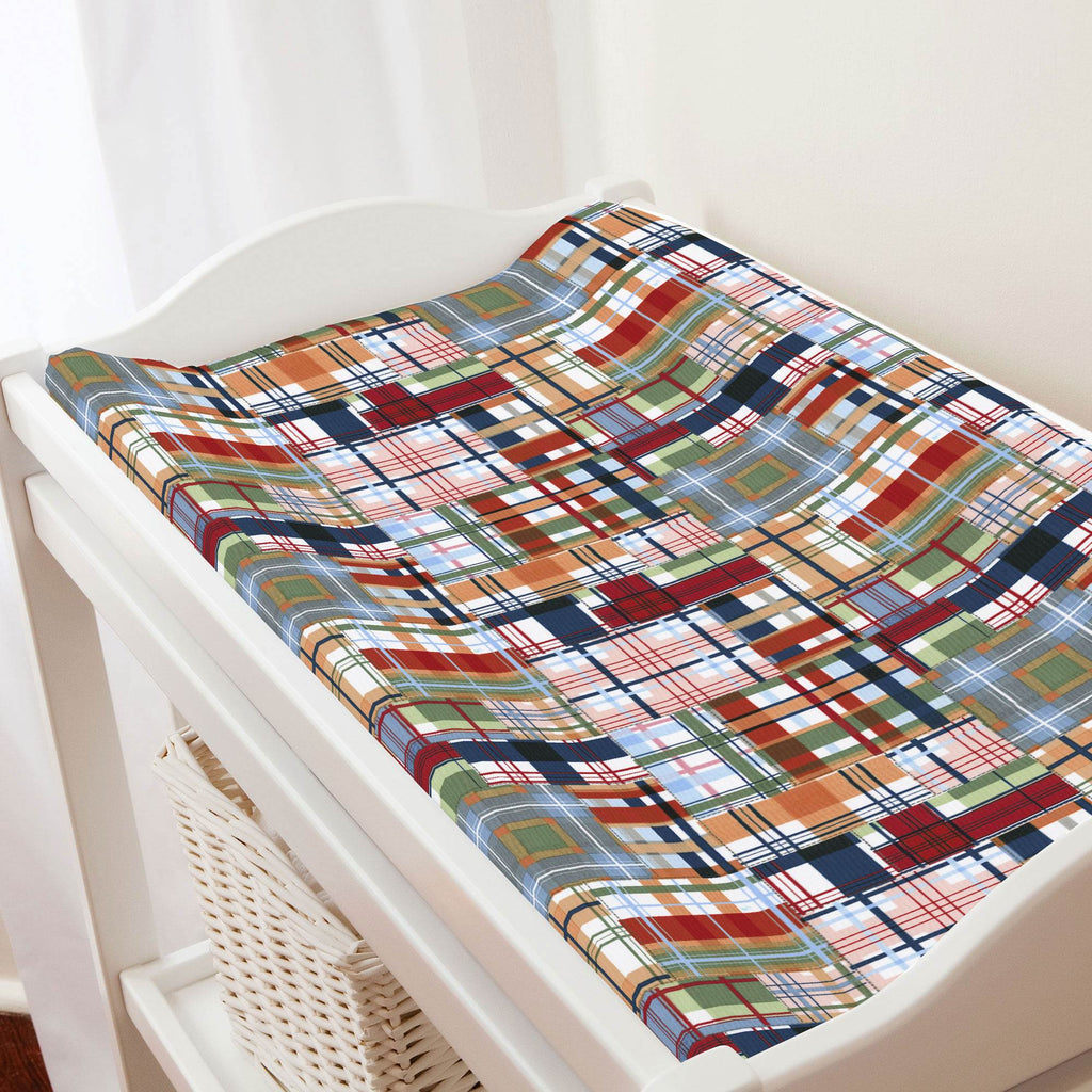 Product image for Patchwork Plaid Changing Pad Cover