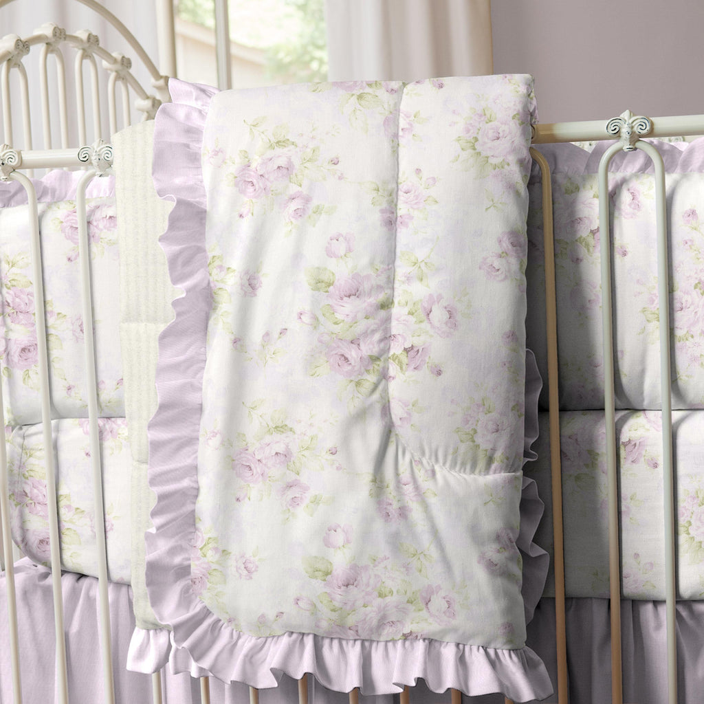 Product image for Lavender Floral Crib Comforter with Ruffle