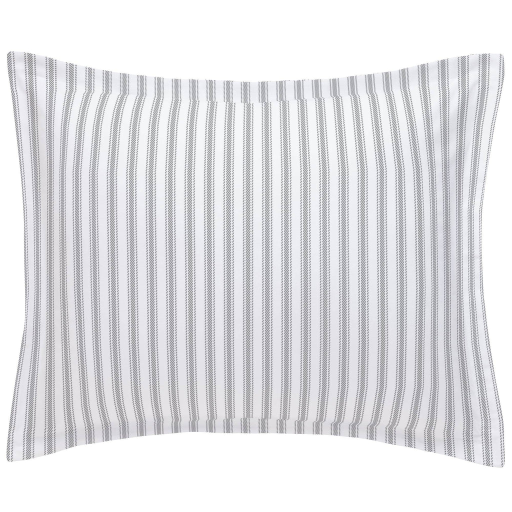 Product image for Cloud Gray Ticking Stripe Pillow Sham