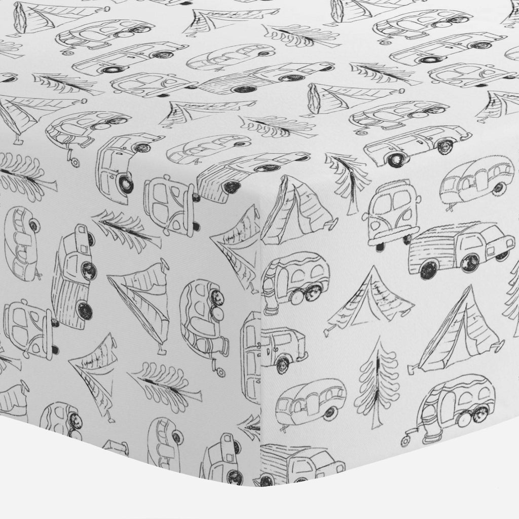 Product image for Slate Little Campers Crib Sheet