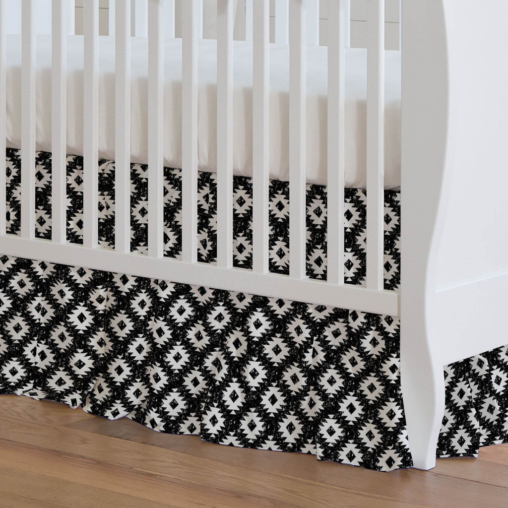 Product image for Onyx and White Aztec Crib Skirt Gathered