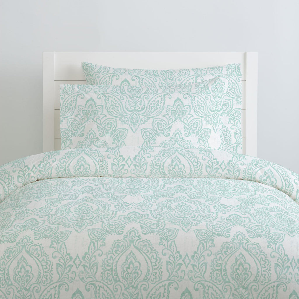 Product image for White and Icy Mint Vintage Damask Duvet Cover