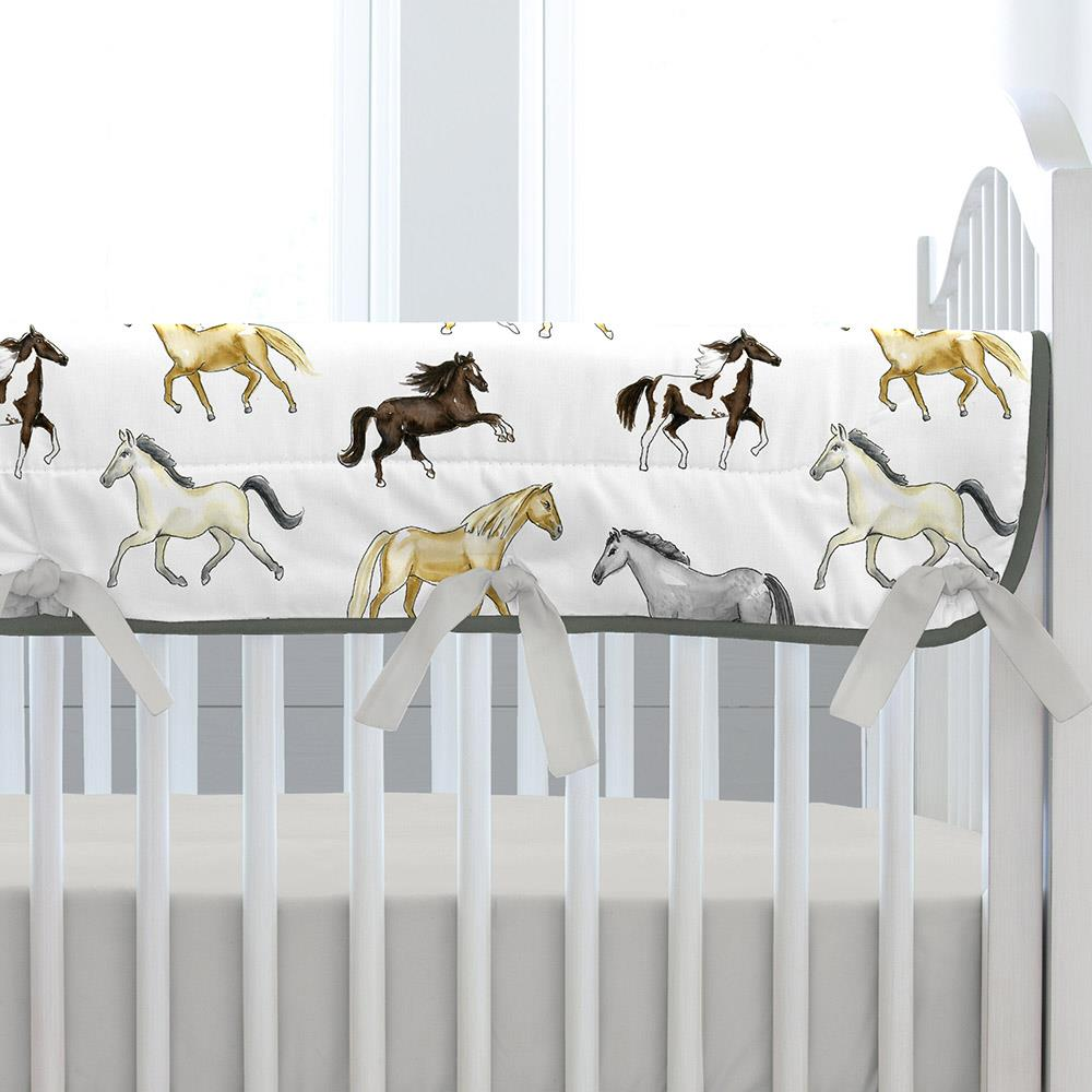 Product image for Watercolor Horses Crib Rail Cover