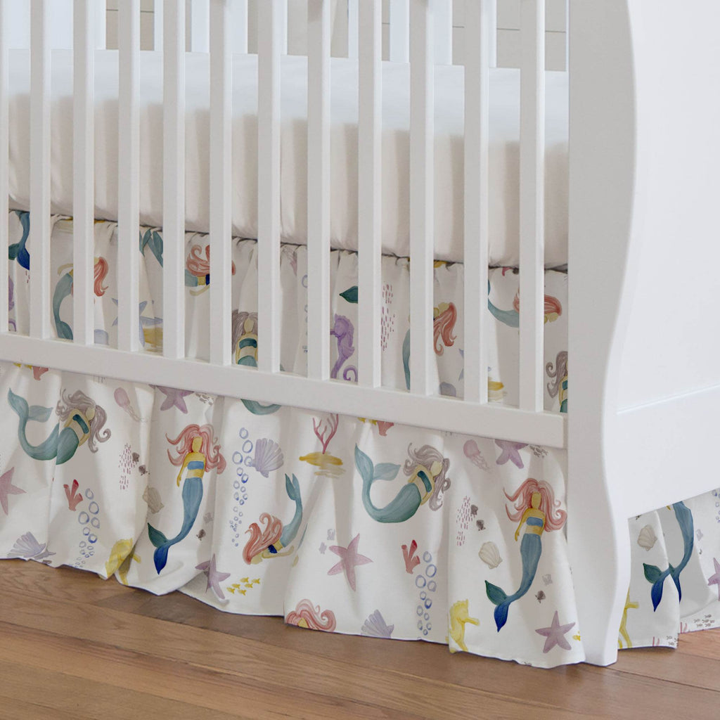 Product image for Watercolor Mermaids Crib Skirt Gathered