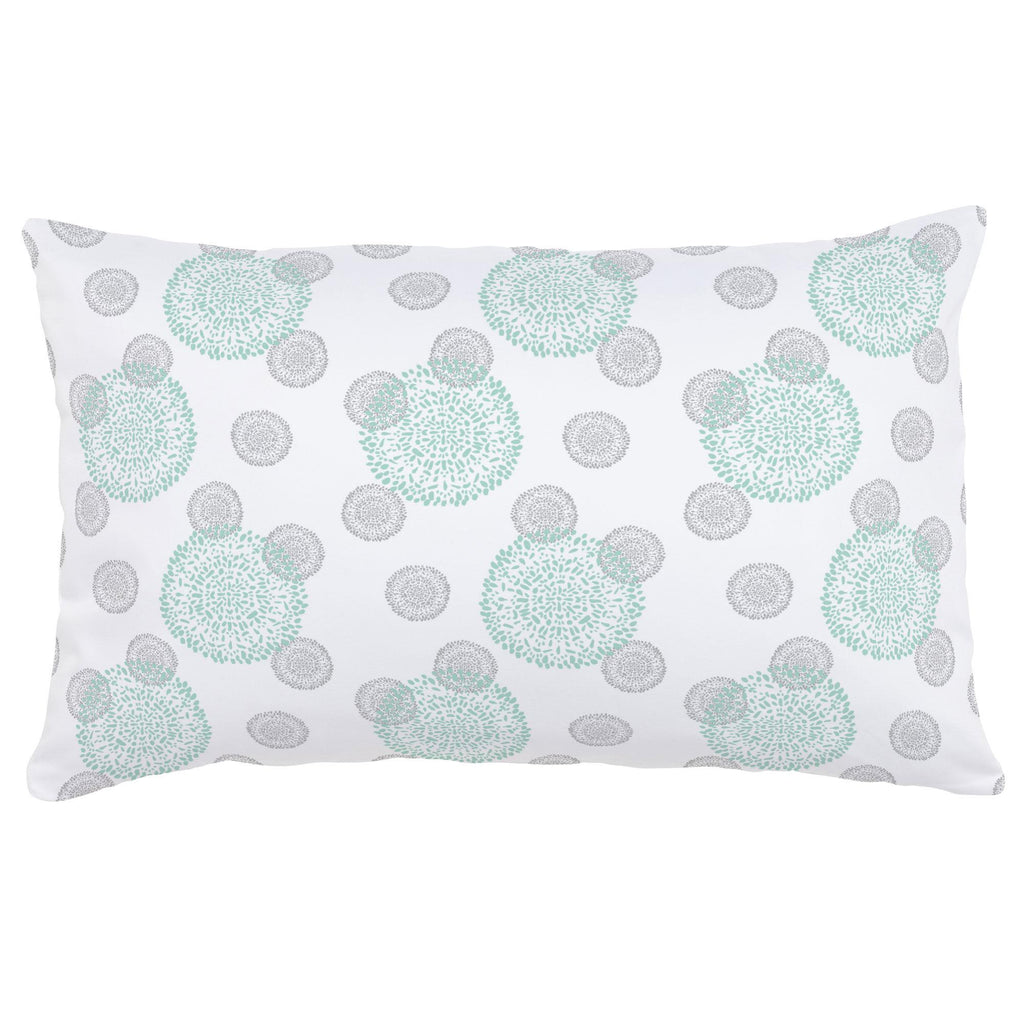 Product image for Mint and Silver Gray Dandelion Lumbar Pillow