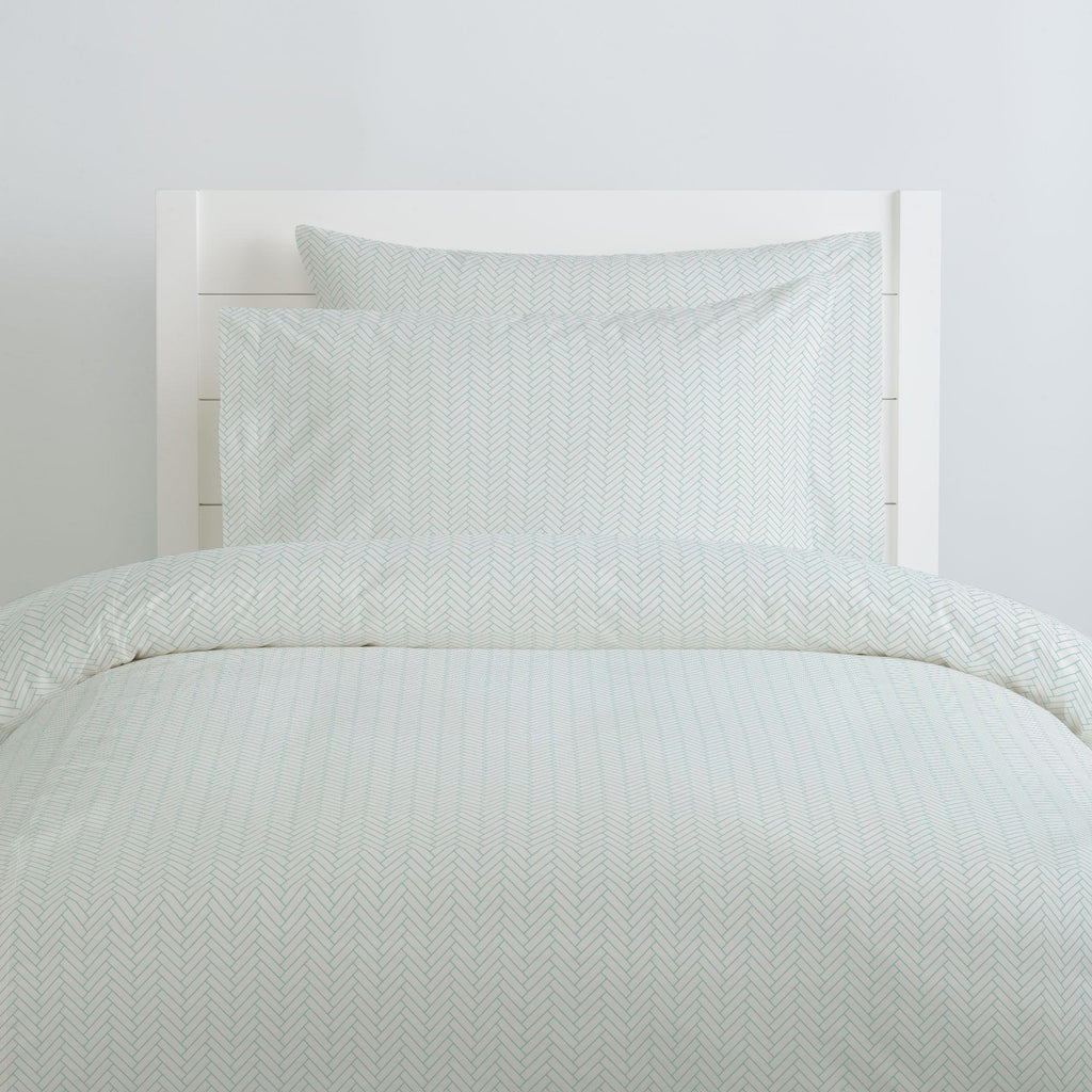 Product image for White and Mint Classic Herringbone Duvet Cover