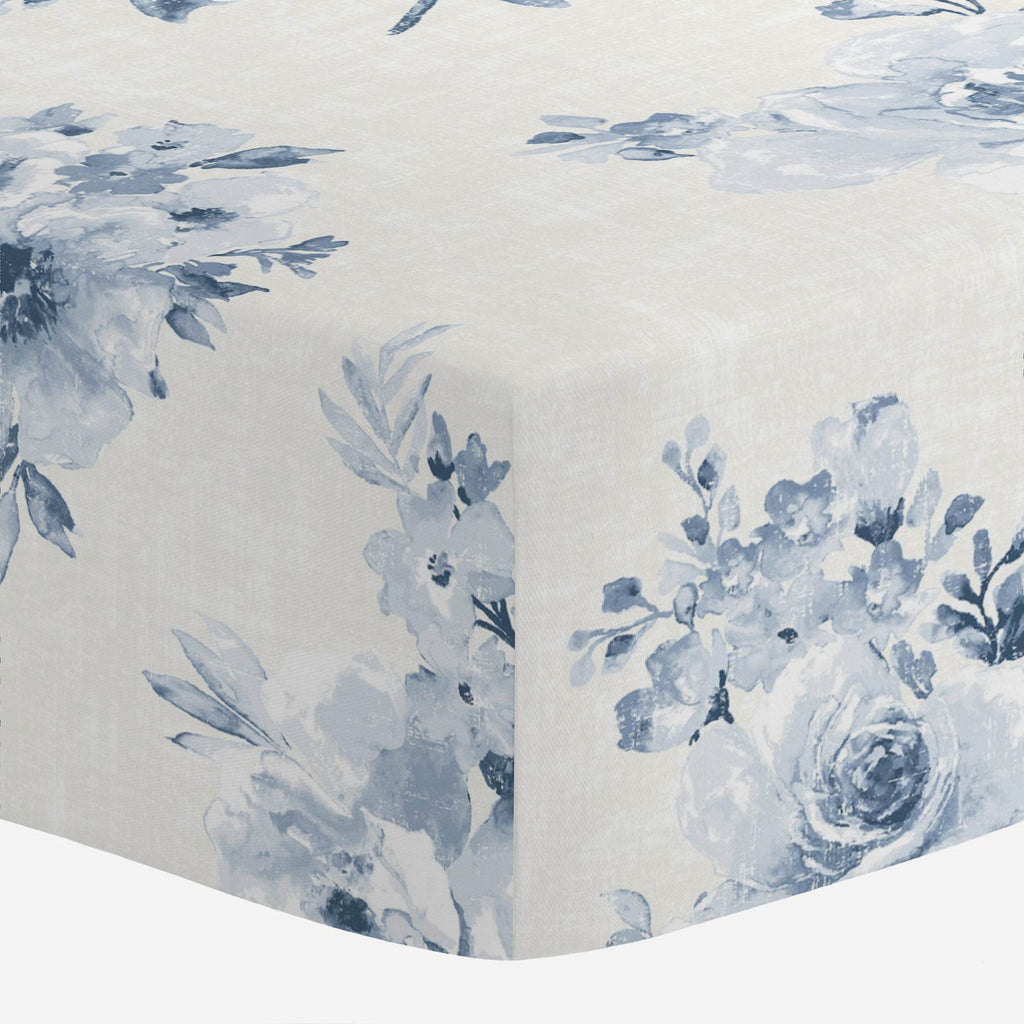 Product image for Blue Farmhouse Floral Crib Sheet