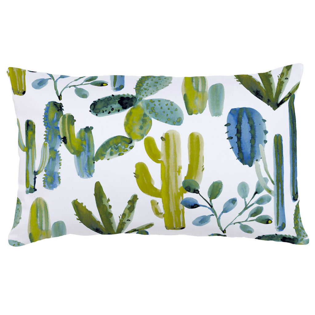 Product image for Blue Painted Cactus Lumbar Pillow