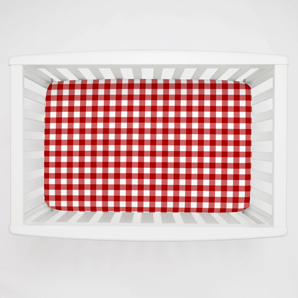 Product image for Red Gingham Mini Crib Sheet