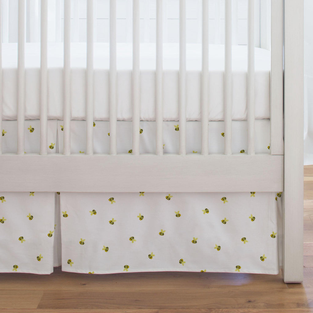 Product image for Watercolor Bees Crib Skirt Single-Pleat