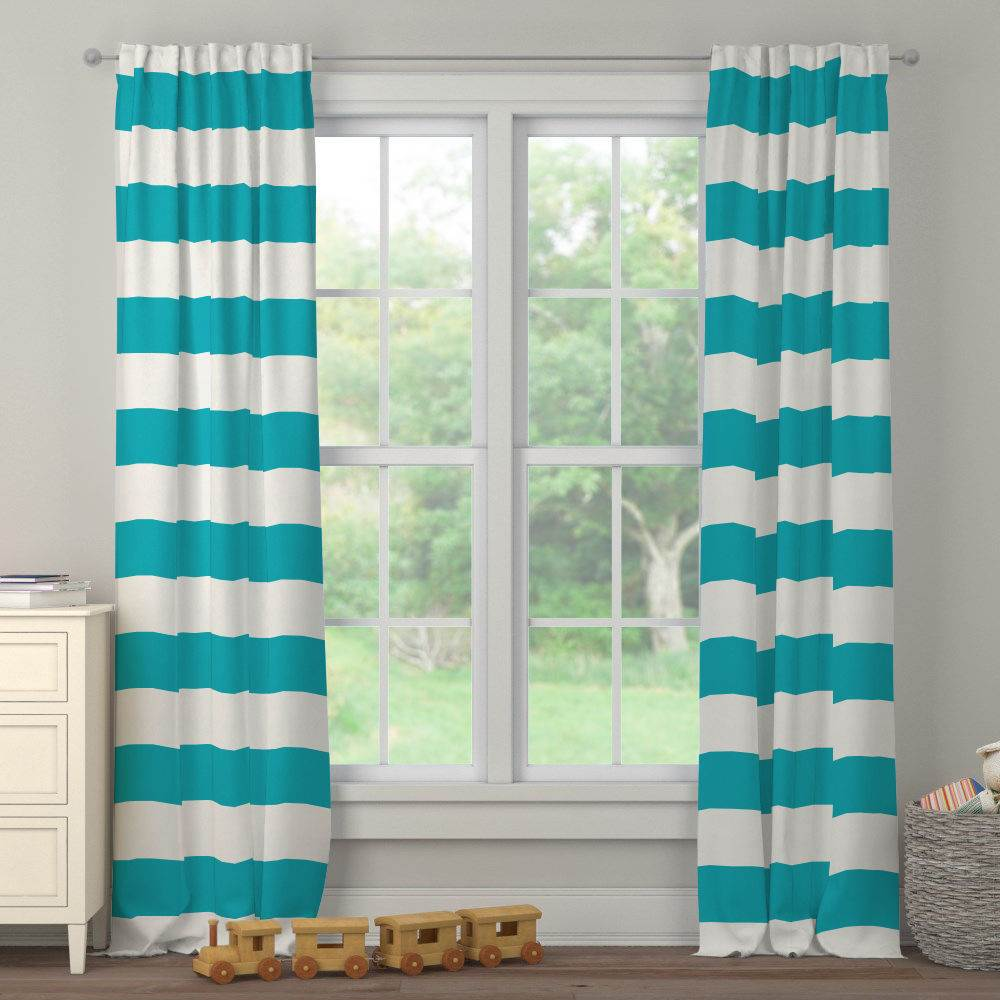Product image for Teal Horizontal Stripe Drape Panel