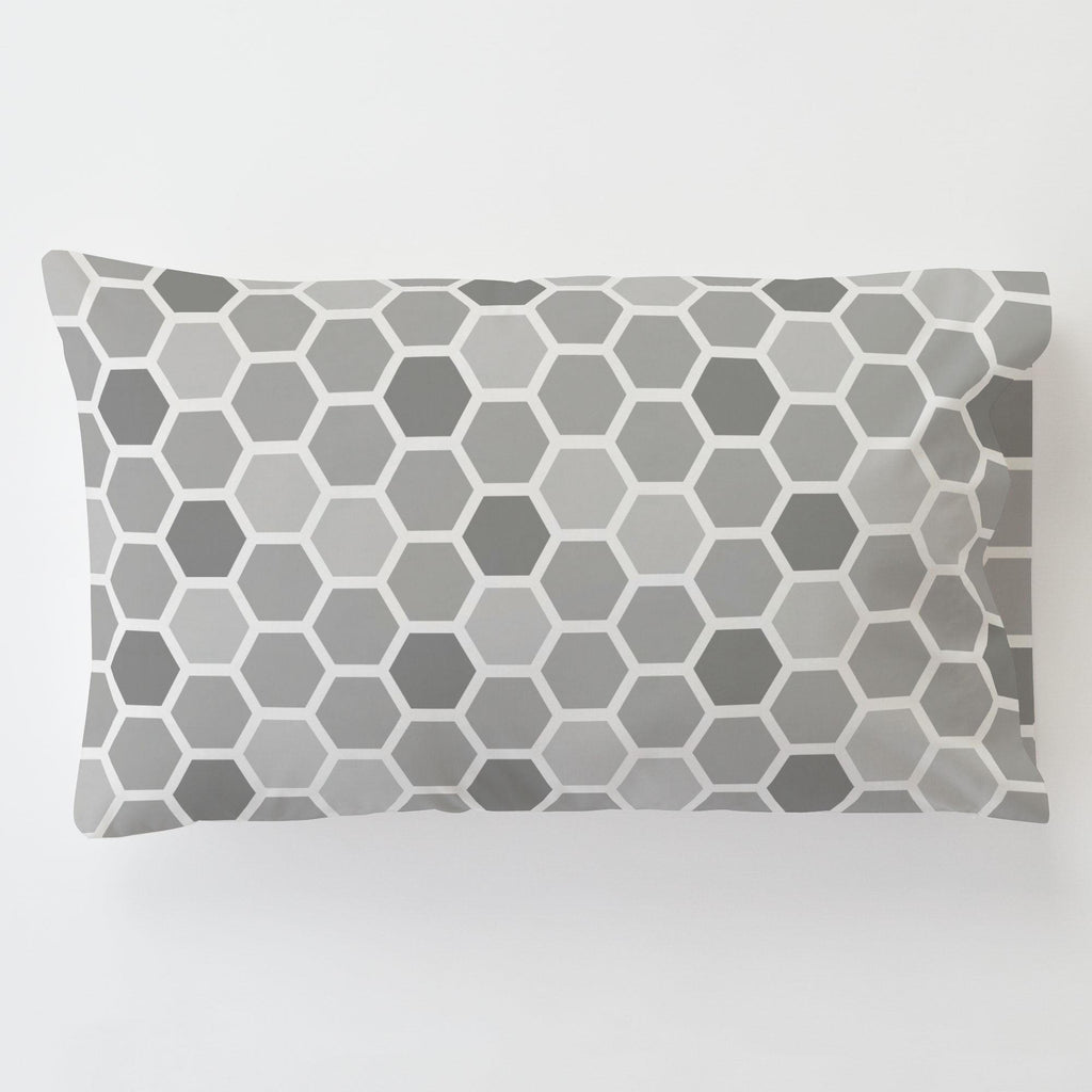 Product image for Gray Honeycomb Toddler Pillow Case with Pillow Insert