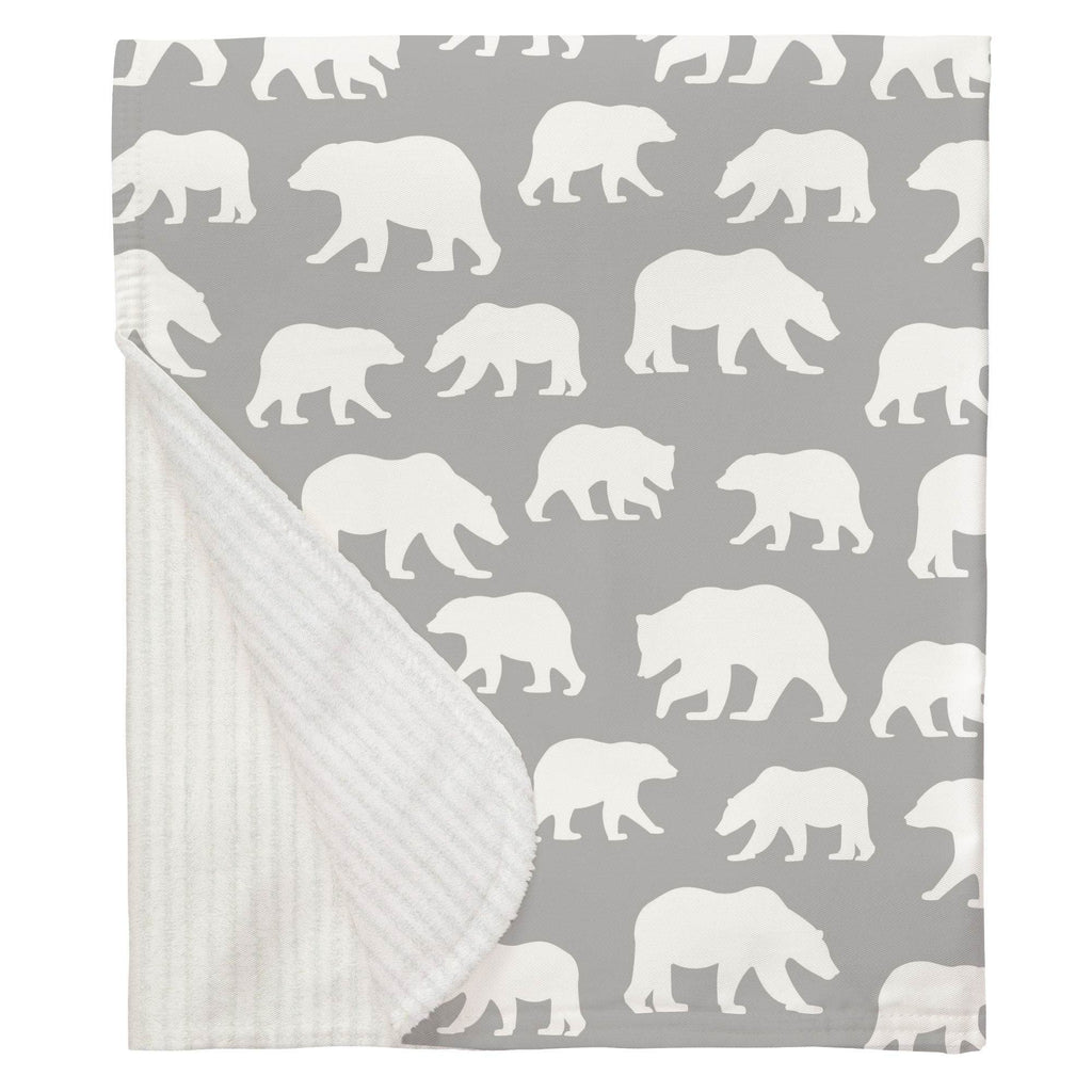 Product image for Silver Gray and White Bears Baby Blanket