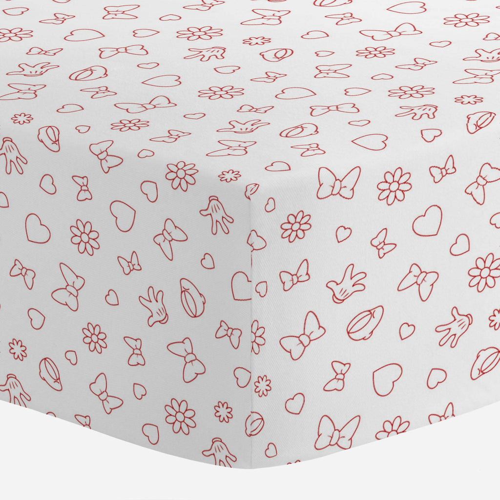Product image for Disney© Red Minnie Icons Crib Sheet