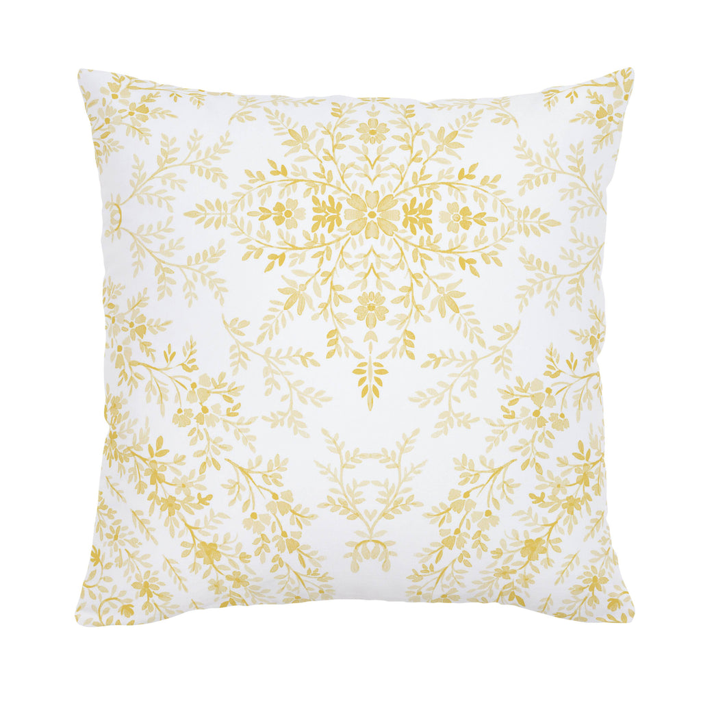 Product image for Yellow Floral Damask Throw Pillow