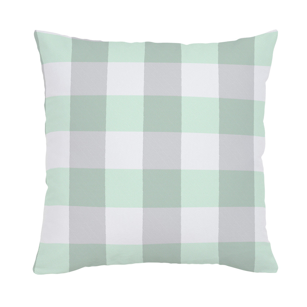 Product image for Mint and Gray Buffalo Check Throw Pillow