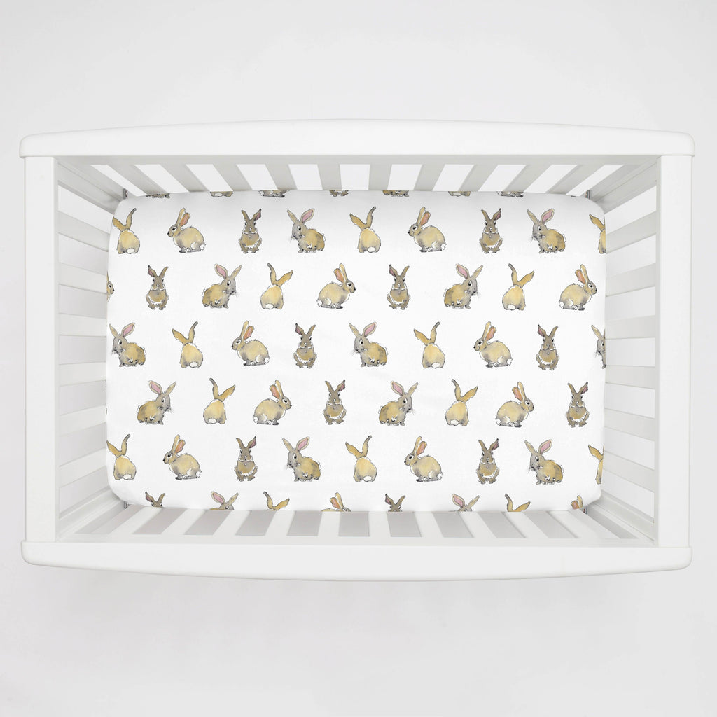 Product image for Watercolor Rabbits Mini Crib Sheet