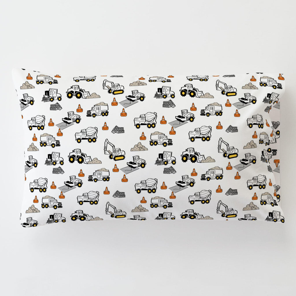 Product image for Construction Trucks Toddler Pillow Case with Pillow Insert