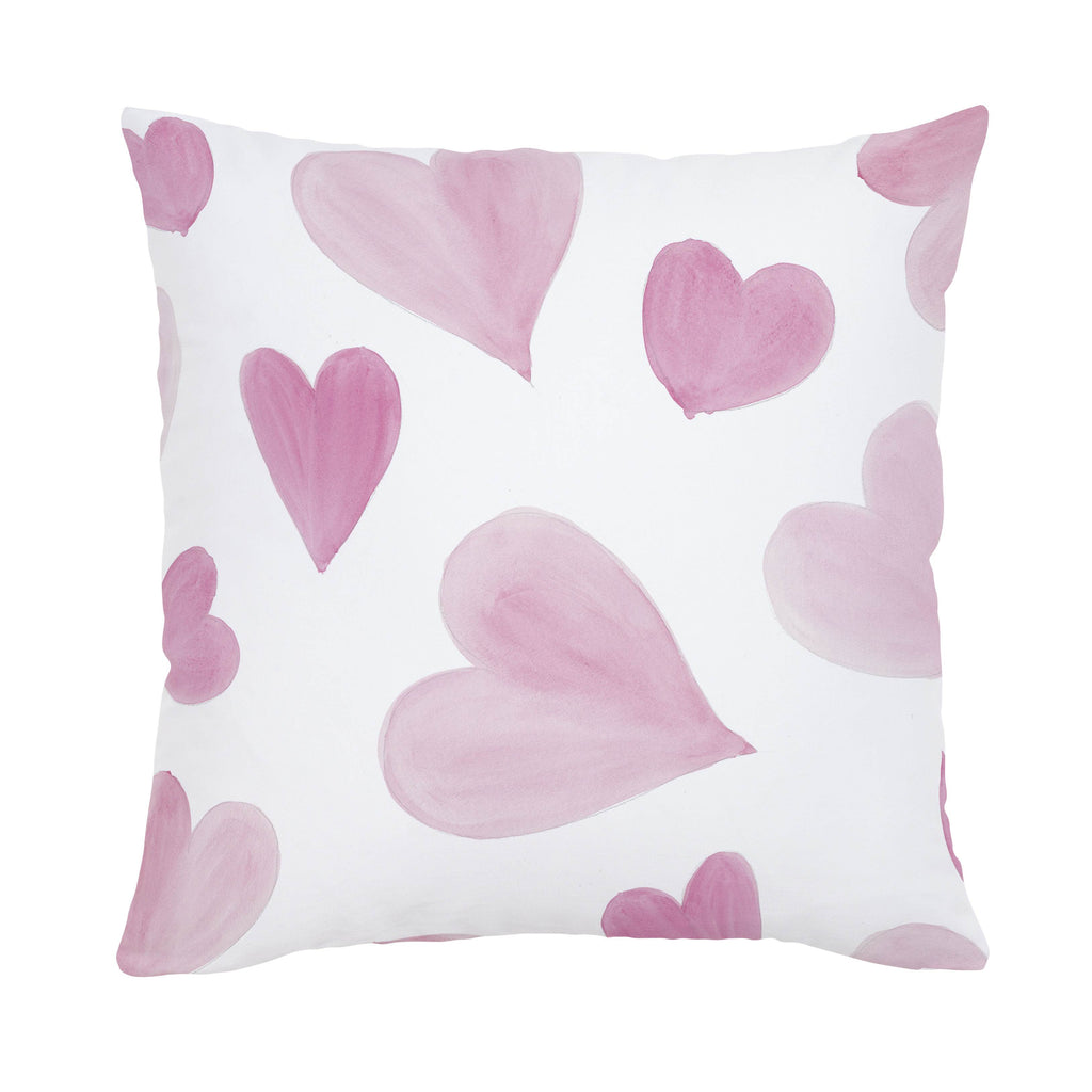 Product image for Pink Watercolor Hearts Throw Pillow